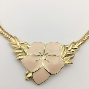 Vintage Trifari Enamel Flower Necklace